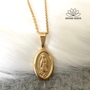 Virgin Mary Oval Pendant Necklace
